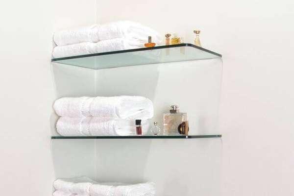 Prateleira para banheiro retangular com vidro de 8 mm, lapidado.