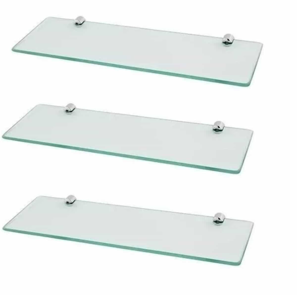 Prateleiras com suporte de fenda com vidro de 8 mm, lapidado.