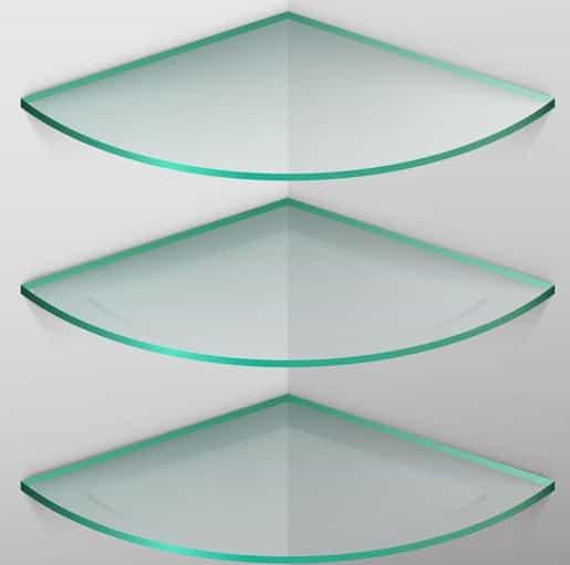 Prateleiras para banheiro canto leque com vidro de 8 mm, lapidado.